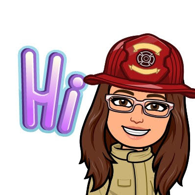 Cartoon picture of firefighter cindy with the word Hi